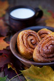 Pumpkin roll buns — Stock Photo
