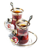 Turkish tea and delights — Stock Photo