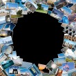 Round stack of travel images from the world with copy space in t — Stock Photo #14143918
