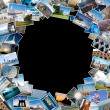 Round stack of travel images from the world with copy space in t — Stock Photo