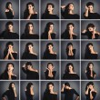 Collage of beautiful woman close up portrait with different expr - Stock Photo