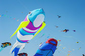 CERVIA, ITALY - APRIL 27: Sky full of kites for International Ki — Stockfoto