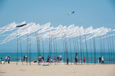 CERVIA, ITALY - APRIL 27: Sky full of flags for International Kite Festival — Stockfoto
