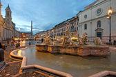 Piazza Navona at dusk. Rome, Italy. — Stock Photo