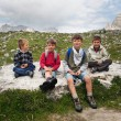 Kids portrait in the mountains. Dolomites, Italy. - Stock Photo