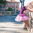 Young beautiful ballerina dancing in Bologna - Pincio, Italy. Ba - Stock Photo