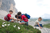 Kids playing in the mountains. Dolomites, Italy. — Stock Photo