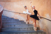 Young beautiful ballerinas dancing on the stairs — Stock Photo