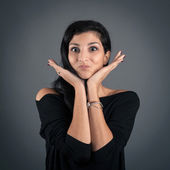 Funny woman close up portrait on dark background. — Stock Photo