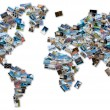 World image made by stack of travel photos from the world. — Stock Photo