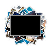 Collection of photos with blank frame in the middle on white bac — Stock Photo
