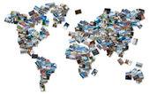 Obraz świata, złożony przez stos zdjęć z podróży na świecie. — Zdjęcie stockowe