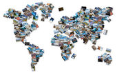 World image made by stack of travel photos from the world. — Stock fotografie