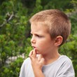 Стоковое фото: Portrait of four year old boy outdoors in mountains. Dolomit