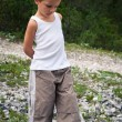 Portrait of four year old boy walking outdoors in the mountains. — Photo