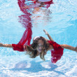 Underwater woman fashion portrait with red veil in swimming pool — Stock Photo #14441025