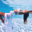 Underwater woman fashion portrait with white dress in swimming pool — Stock Photo #14441055