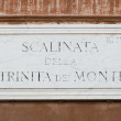 Street plate of famous Scalinata della Trinità dei Monti. Rome. — Stock Photo