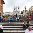 "ROME - SEPTEMBER 13: The Spanish Steps from Piazza di Spagna on September 13, 2012, Rome.The ""Scalinata"" is the widest staircase in Europe. — Photo"