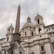 Piazza Navona building and obelisk. Rome, Italy. - Stock Photo