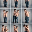 Collage of young brothers images. Studio portrait. — Stock Photo