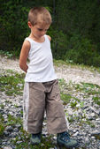 Portrait of four year old boy walking outdoors in the mountains. — Стоковое фото