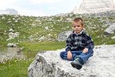 Portrait of 4 years kid outdoors in the mountains. Dolomites, It — Stock Photo