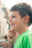 6 years old kid laughing outdoors. — Stock Photo