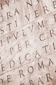 Roman letters texture. Sepia tone. — Stock Photo