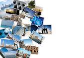 Stapel von reise-bilder aus der welt. — Stockfoto