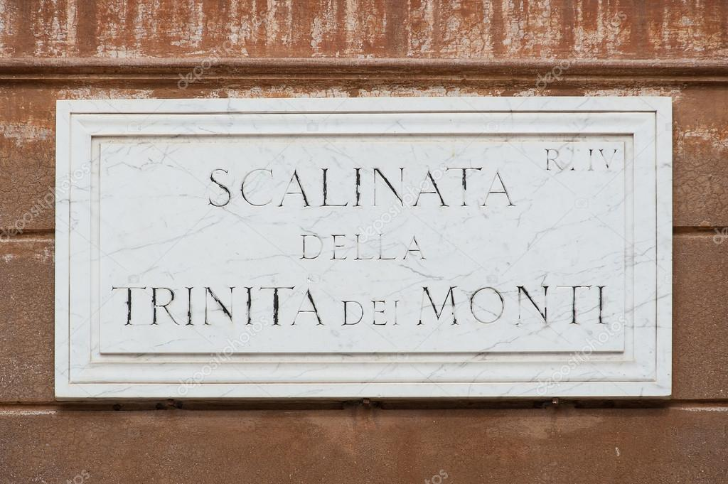 Street plate of famous Scalinata della Trinità dei Monti. Rome. — Stock Photo #14442035