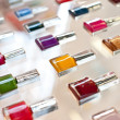Stock Photo: Group of bright nail polishes.