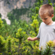 Portrait of four year old boy walking outdoors in the mountains. - 图库照片
