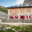 "Stock Photo: Lavaredo Hut, July 26, 2012 in Dolomites, Italy. The hut was built in 1954 by mountain guide Francis Colò ""Mazzetta"""