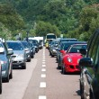 Traffic jam driving back to the south on July 31, 2012 in Bozen, Italy. - Stock Photo