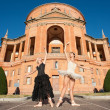 Young beautiful dancers in front of San Luca church. Bologna, Italy — Stock Photo