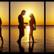 Couple silhouette at the beach kissing each others. — Stock Photo