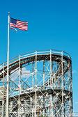 Roller-coaster in the Coney Island Astroland Amusement Park, Usa — Stock Photo