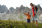 Mother and son walking in Dolomites, Italy. — Stock Photo