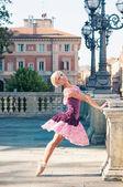 Young beautiful ballerina dancing in Bologna, Italy. — Stock Photo