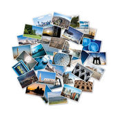 Round stack of travel images from the world. — Stock Photo