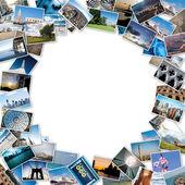 Cały stos zdjęć podróży ze świata z kopia miejsce — Zdjęcie stockowe