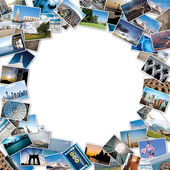 Round stack of travel images from the world with copy space — Stok fotoğraf