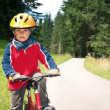 Six year old kid outdoor on byke. Bicycle path from St. Candid i — Stock Photo