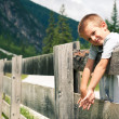 Portrait of four year old boy outdoors in the mountains. Dolomit - Stock Photo