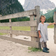 Portrait of four year old boy outdoors in the mountains. Dolomit — Photo