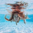 Underwater woman close up portrait in swimming pool — Stock Photo #14634079