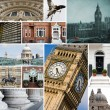 Collage of different images of London, United Kingdom - Stock Photo