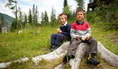 Two brothers having lunch with a sandwich in the mountains — Stock Photo