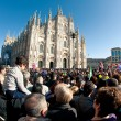 Enjoying Carnival in Dome square in Milan, Italy. Every y — Stock Photo